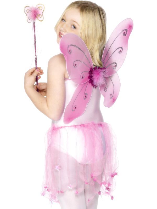 Princezny-Víly - Dětská křídla a hůlka růžová