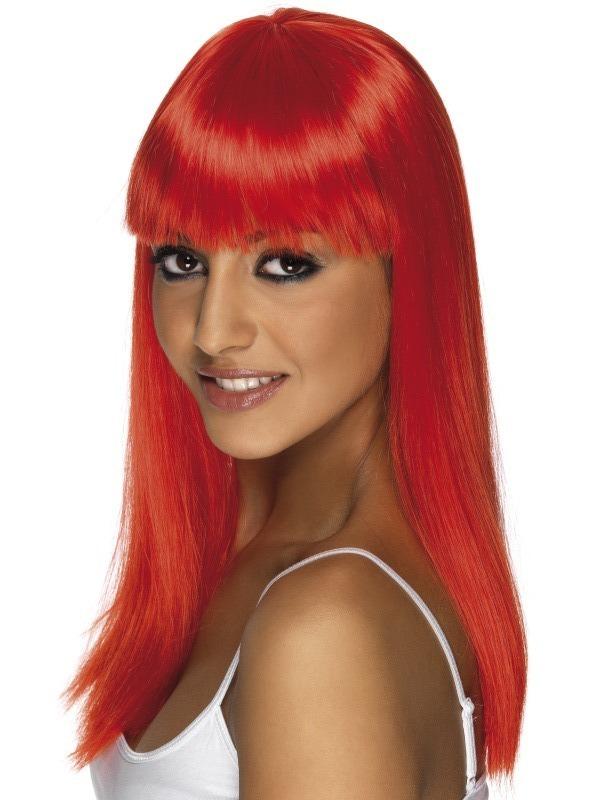 Paruky - Paruka Glamourama neon jasně červená