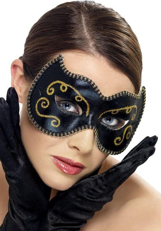 Masky - Škraboška Persian černá/zlatá