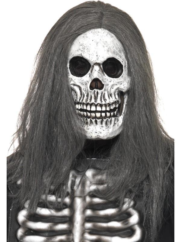 Halloween - Maska Lebka s šedými vlasy