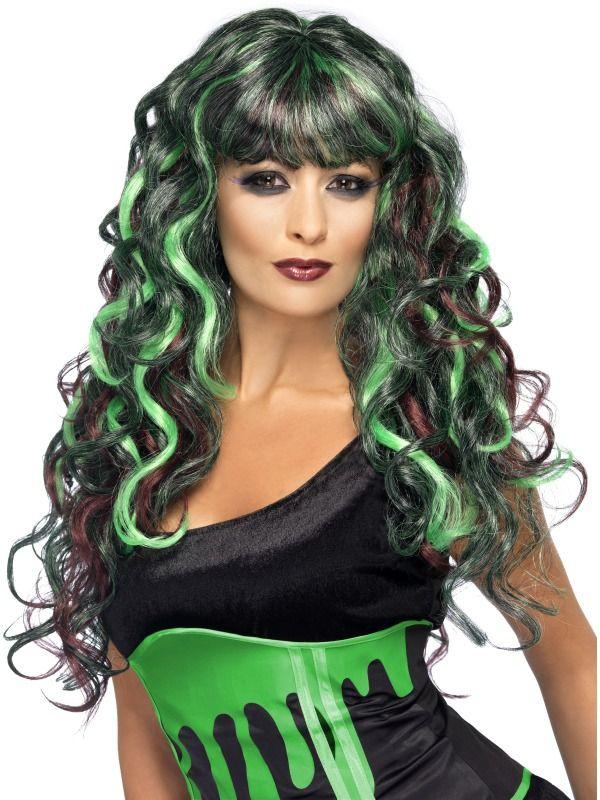 Čarodějnice - Paruka Siren zelená/fialová