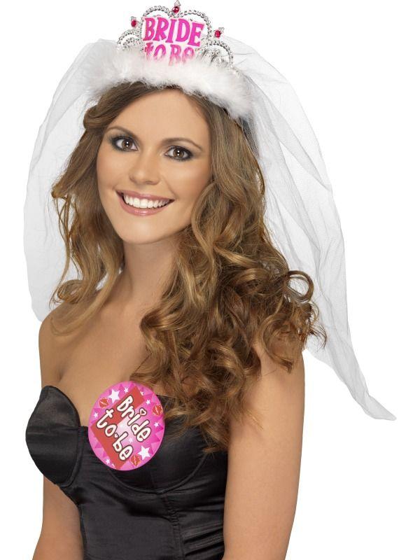 Karnevalové doplňky - Korunka se závojem Bride to be bílá