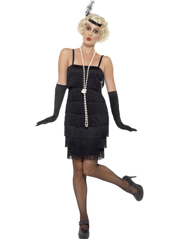 Dámské kostýmy - Kostým Flapper krátké šaty černé ve stylu charleston