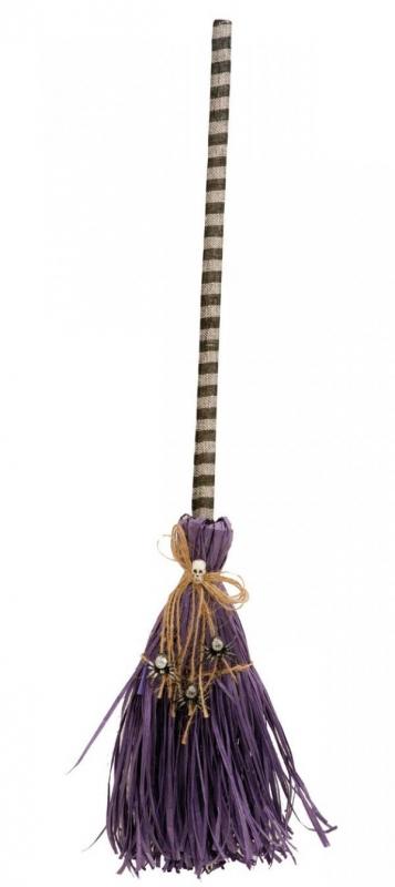 Čarodějnice - Koště pro čarodějnici purpurovo-hnědé s pavouky