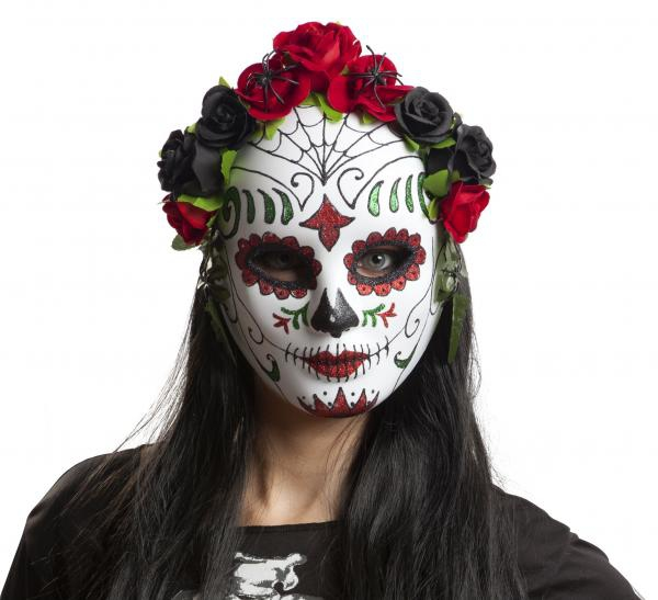 Halloween - Maska obličejová Katrina s kytkami