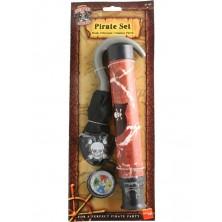 Pirátská sada hák, dalekohled, kompas a záslepka
