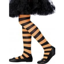 Dětské punčocháče pruhované oranžová a černá