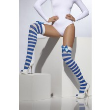 Punčochy pruhované modrá a bílá