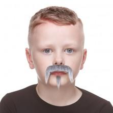 Dětský knír šedý s bradkou