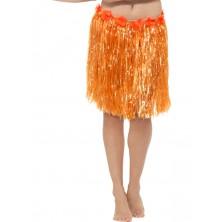 Havajská sukně oranžová 40 cm s květinami
